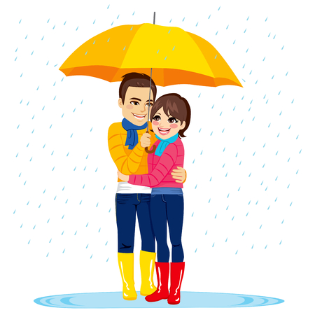 yellow umbrella: Young couple standing under rain with yellow umbrella Illustration