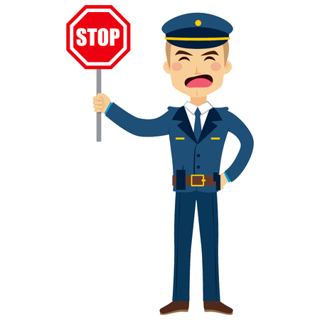 police man: Illustration of a policeman holding stop traffic sign