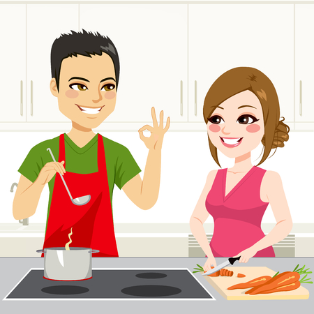 stew: Cute young couple cooking a stew together on kitchen