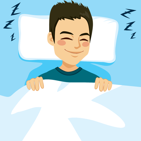 face close up: Young man sleeping happy and relaxed on bed Illustration