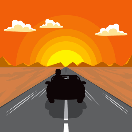 Illustration of car silhouette on sunset afternoon flat color style