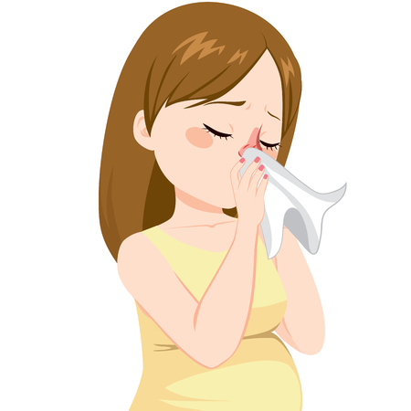 blowing nose: Young pregnant woman with flu sneezing on tissue