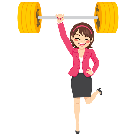 young businesswoman: Happy young strong super powerful businesswoman lifting up barbell golden dollar coin weight with one arm Illustration