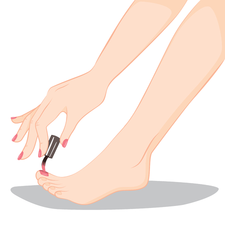 woman foot: Close up illustration of pedicure nail painting in process