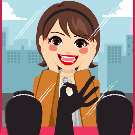 boutique display: Woman admiring diamond ring on jewelry boutique display Illustration