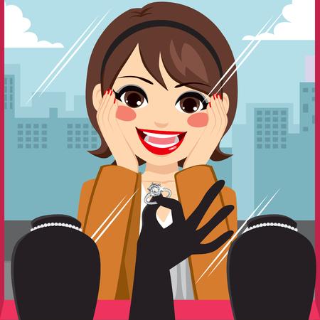 admiring: Woman admiring diamond ring on jewelry boutique display Illustration