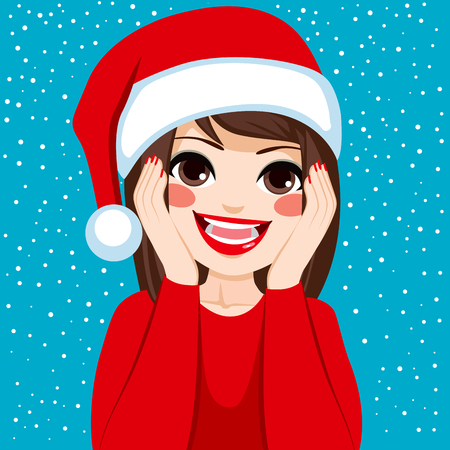 thrilled: Beautiful young brunette woman happy and surprised on Christmas wearing Santa Claus hat with snow background Illustration