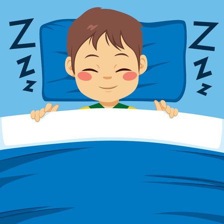 peacefully: Little boy happy sleeping peacefully in bed at night Illustration