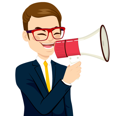 Young businessman shouting with megaphone business concept