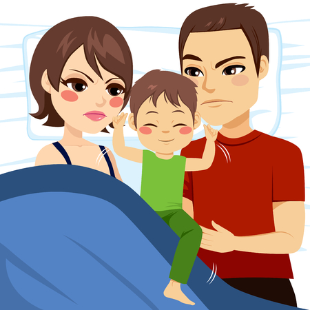 unable: Illustration of upset parents unable to sleep because son is in bed moving and annoying