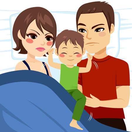 molesto: Ilustración de los padres molestos que no pueden dormir porque el hijo está en lecho móvil y molesto