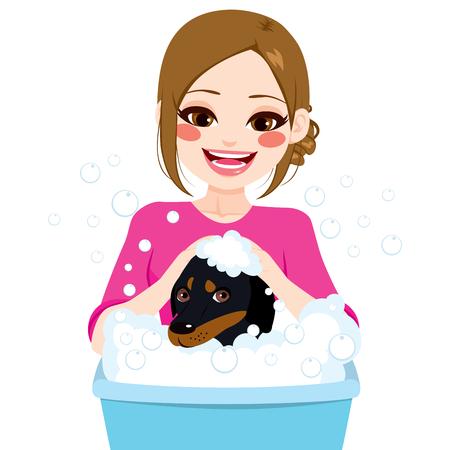 Young professional pet groomer washing dachshund dog Illustration