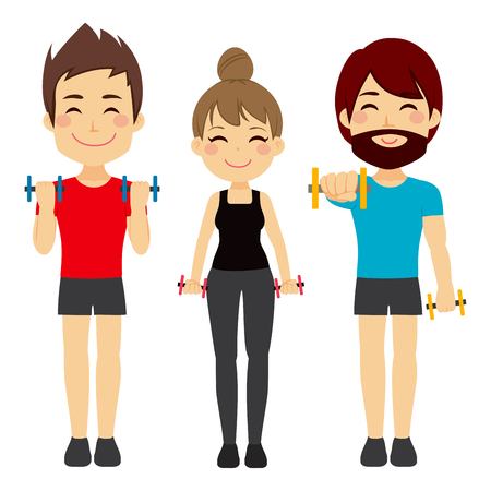 sport woman: Men and Woman doing fitness sport with dumbbell