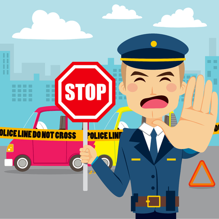 stopping: Policeman holding traffic sign and showing hand palm stopping access to car accident scene