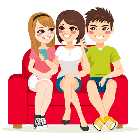 using smartphone: Friends together sitting on couch talking and using smartphone Illustration