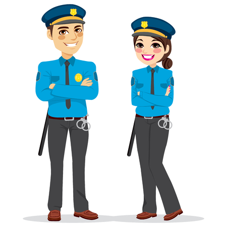 Young female and male police officers standing isolated on white background Vettoriali