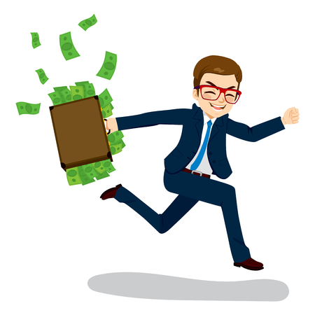 Young businessman happy running away carrying briefcase full with money spilling