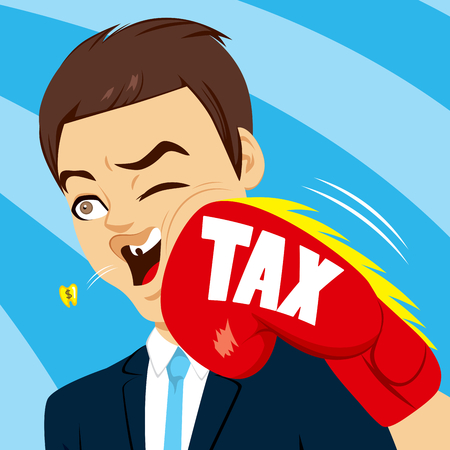 in trouble: Concept illustration of businessman knocked out by taxes big boxing glove