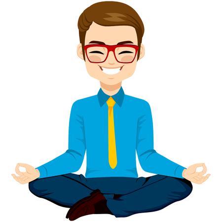 jovenes felices: hombre de negocios joven en actitud de la yoga relaja feliz Vectores