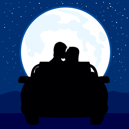 Illustration of silhouette couple kissing on car with full moon background Illustration