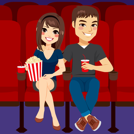 Young couple together on date at cinema watching film eating pop corn and drinking Vettoriali