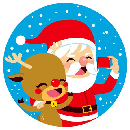 buddies: Santa Claus taking selfie with his deer on Christmas