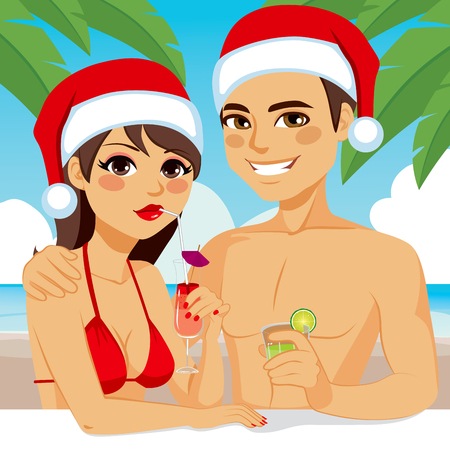girlfriend: Young couple enjoying Christmas vacation drinking cocktail on tropical beach wearing Santa hat Illustration