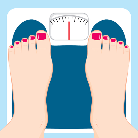 woman diet: Close up of female feet standing on weight scale