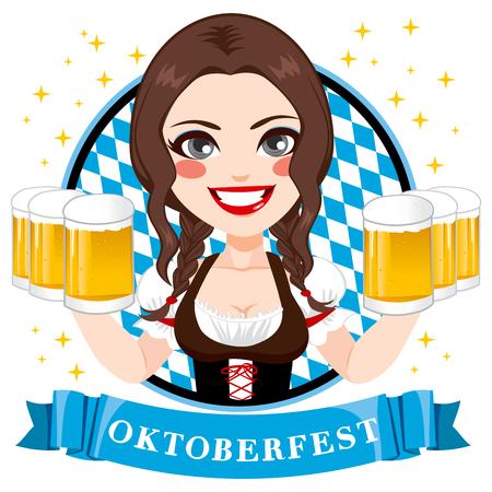 octoberfest: Ilustración de la hermosa camarera morena joven con seis tazas de cerveza en la celebración de Oktoberfest