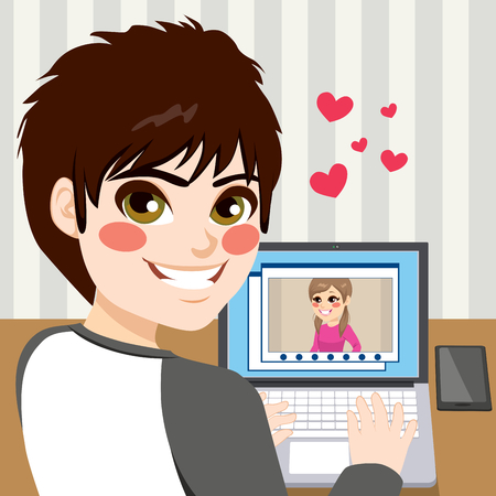 video call: Young teenager boy chatting with his love on video call using laptop