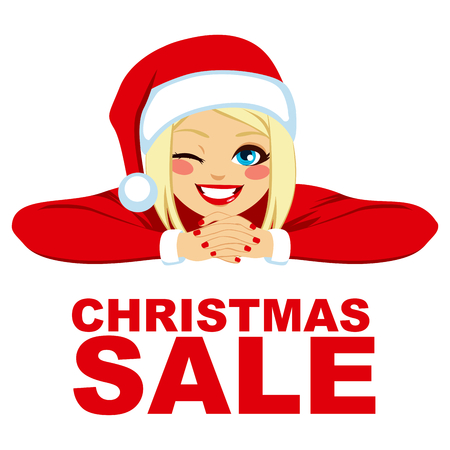 winking: Blonde woman wearing Santa hat smiling and winking with red Christmas sale text