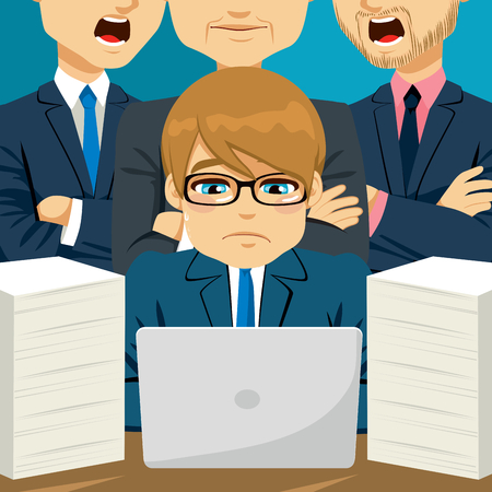 busy person: Young businessman being scolded by his superiors on his back and working under pressure Illustration