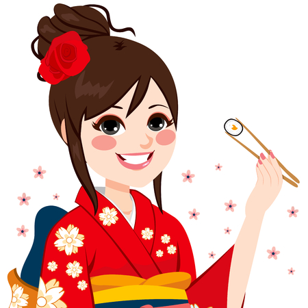 woman eating: Beautiful Japanese woman wearing kimono eating maki sushi with chopsticks