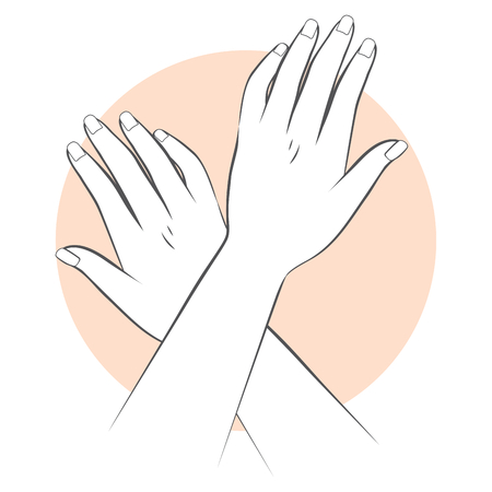 close up woman: Stylized illustration of female hands manicure concept