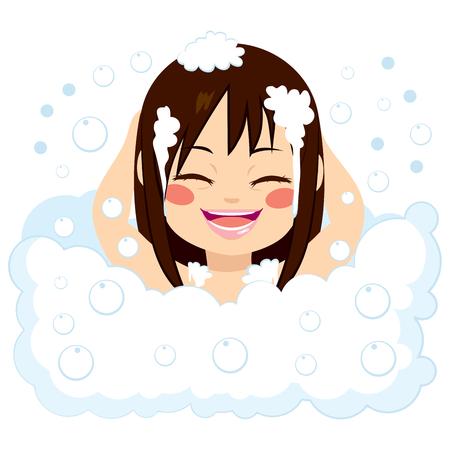 infant: Happy little girl having fun in bubble bath washing hair with foam Illustration