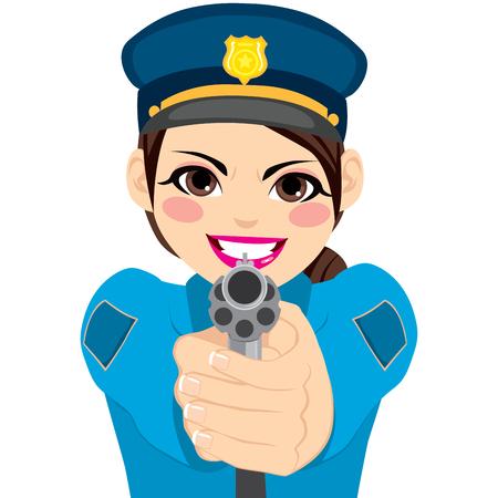 mujer policia: policía de sexo femenino joven que sostiene y que señala el arma revólver