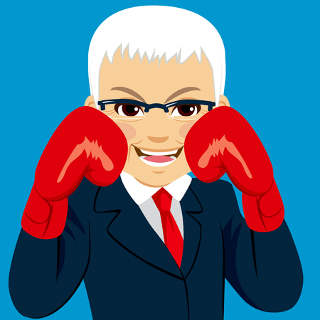 mature business man: Senior businessman wearing red boxing gloves business concept ready to fight for success
