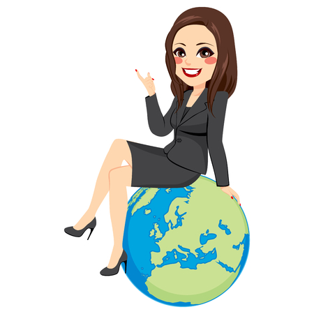 Young beautiful brunette businesswoman sitting on globe showing Europe continent