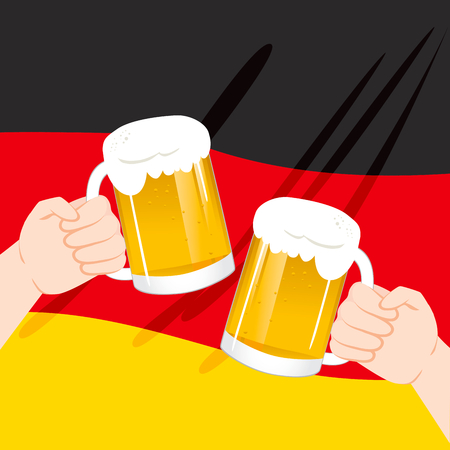 Close up illustration of two hands toasting with beer mugs over German flag on Oktoberfest celebration