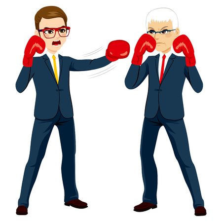 punching: Illustration concept of a senior and young businessmen on boxing match for success competition Illustration