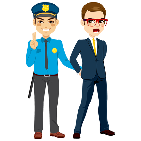 Young policeman arresting angry white collar criminal businessman Illustration