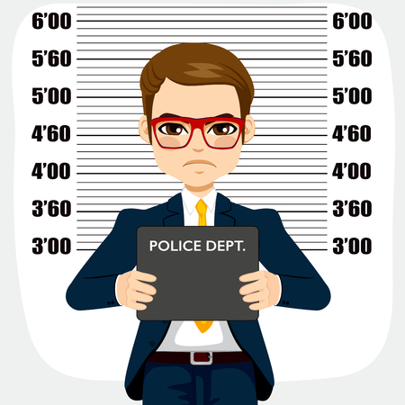 Young criminal arrested businessman holding placard for mugshot Illustration