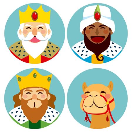 Collectie van drie wijze mannen avatar expressie en grappig kameel