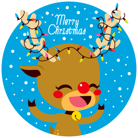 Cute little happy deer with colorful lights decoration tangled in antlers and Merry Christmas text Illustration