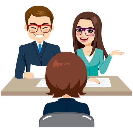 the applicant: Business staff on recruitment job interview with woman candidate