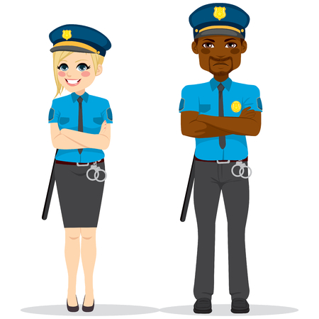female cop: Female and male police officers with crossed arms wearing uniform standing