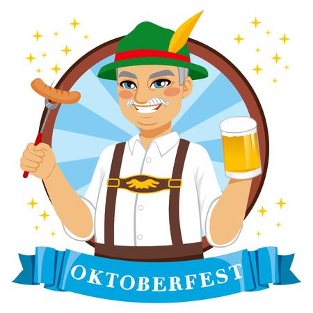 bavarian culture: Senior Bavarian man holding beer mug and sausage with Oktoberfest banner
