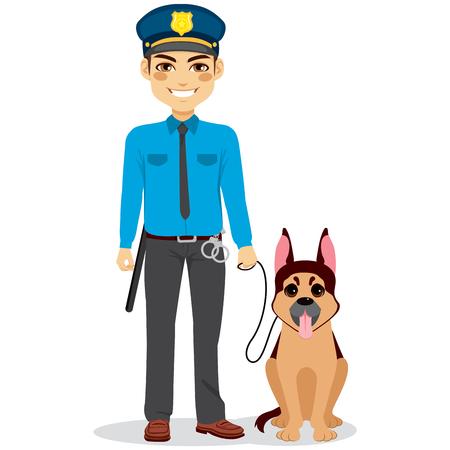ジャーマン ・ シェパードの警察犬と若い警官官  イラスト・ベクター素材