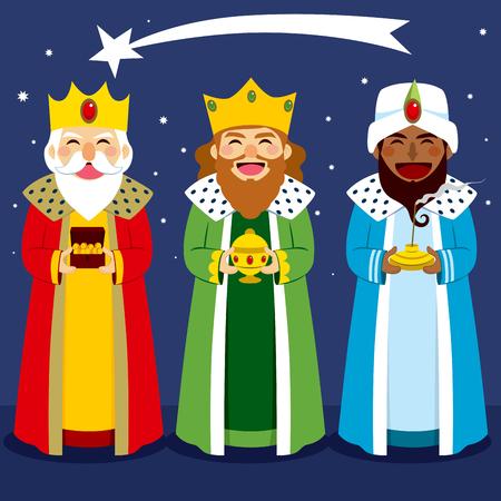Drie wijzen brengen geschenken aan Jezus in de vooravond van Kerstmis