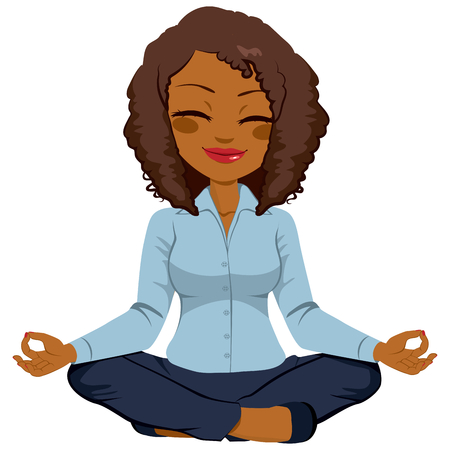 nirvana: Young African American businesswoman in yoga lotus pose relaxing happy